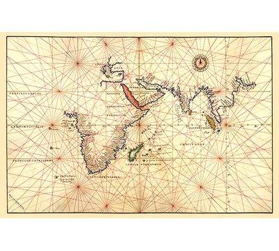 Portolan Map Of Africa The Indian Ocean And The Indian Subcontinent By Battista Agnese Graphic Art Buyenlarge Size 66 H X 44 W