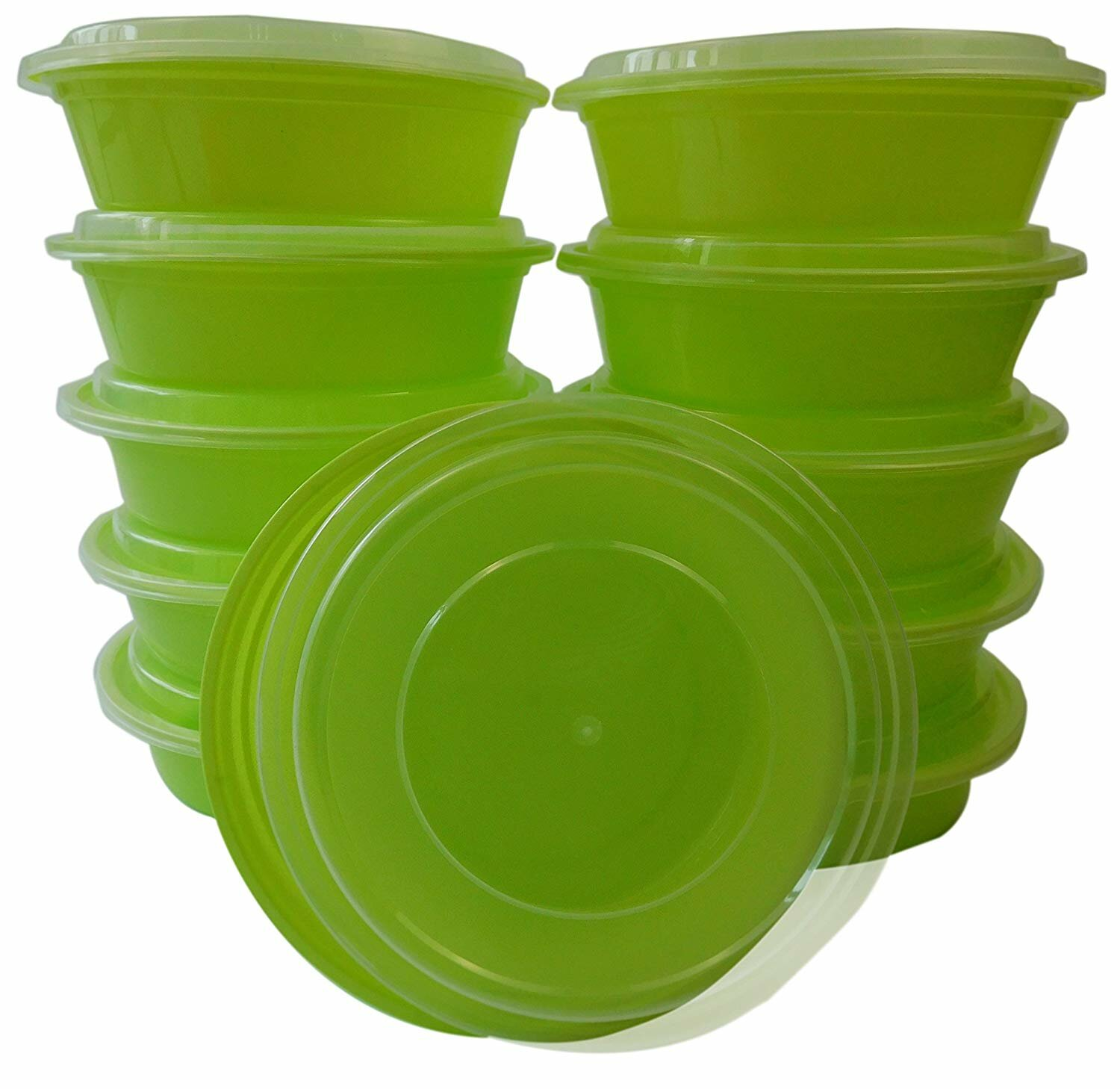 24 oz  100 Count  Round Microwaveable Plastic Meal Prep Containers with Lids