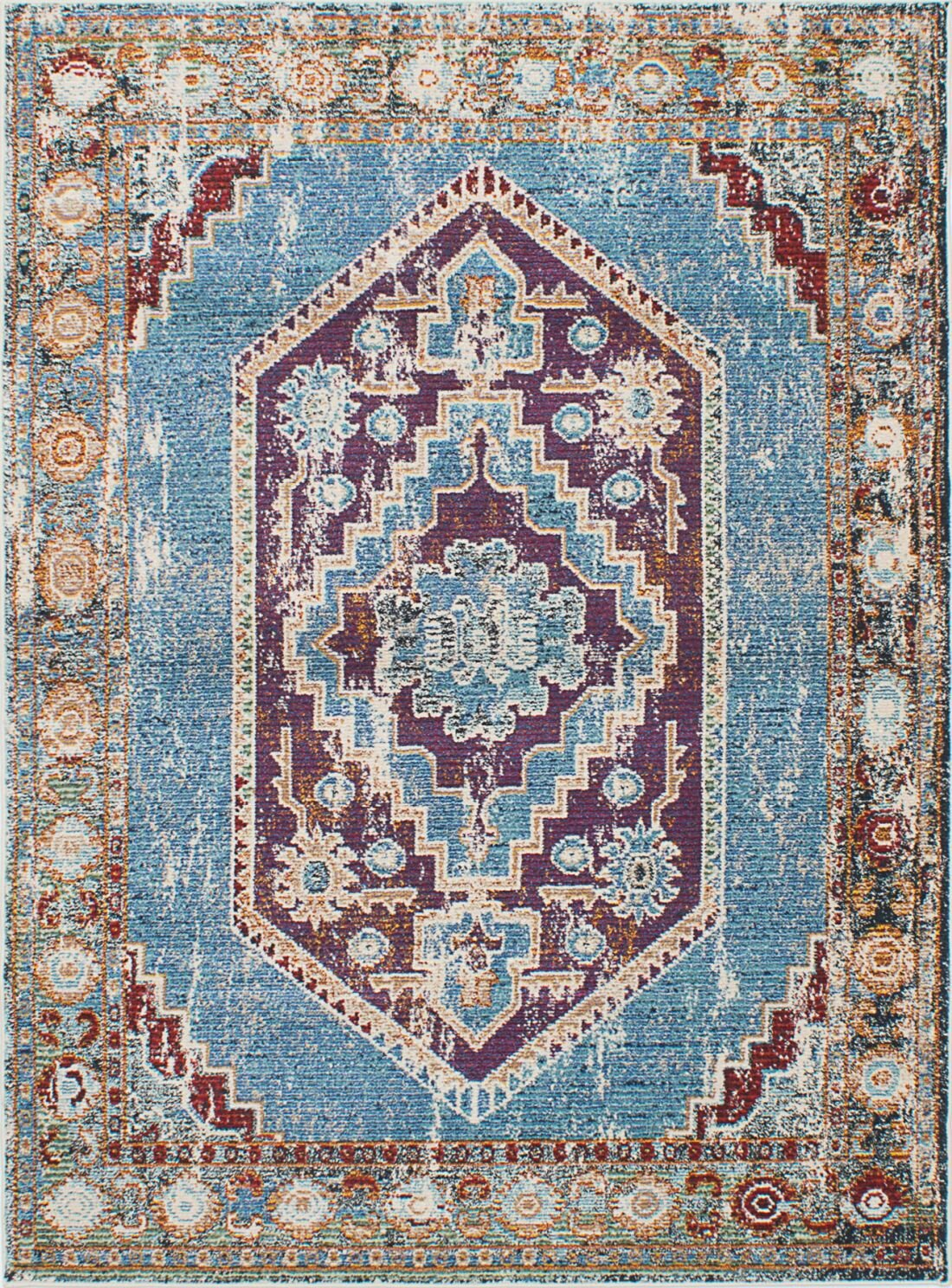 World Menagerie Dempsey Sky Blue Red Area Rug Wayfair