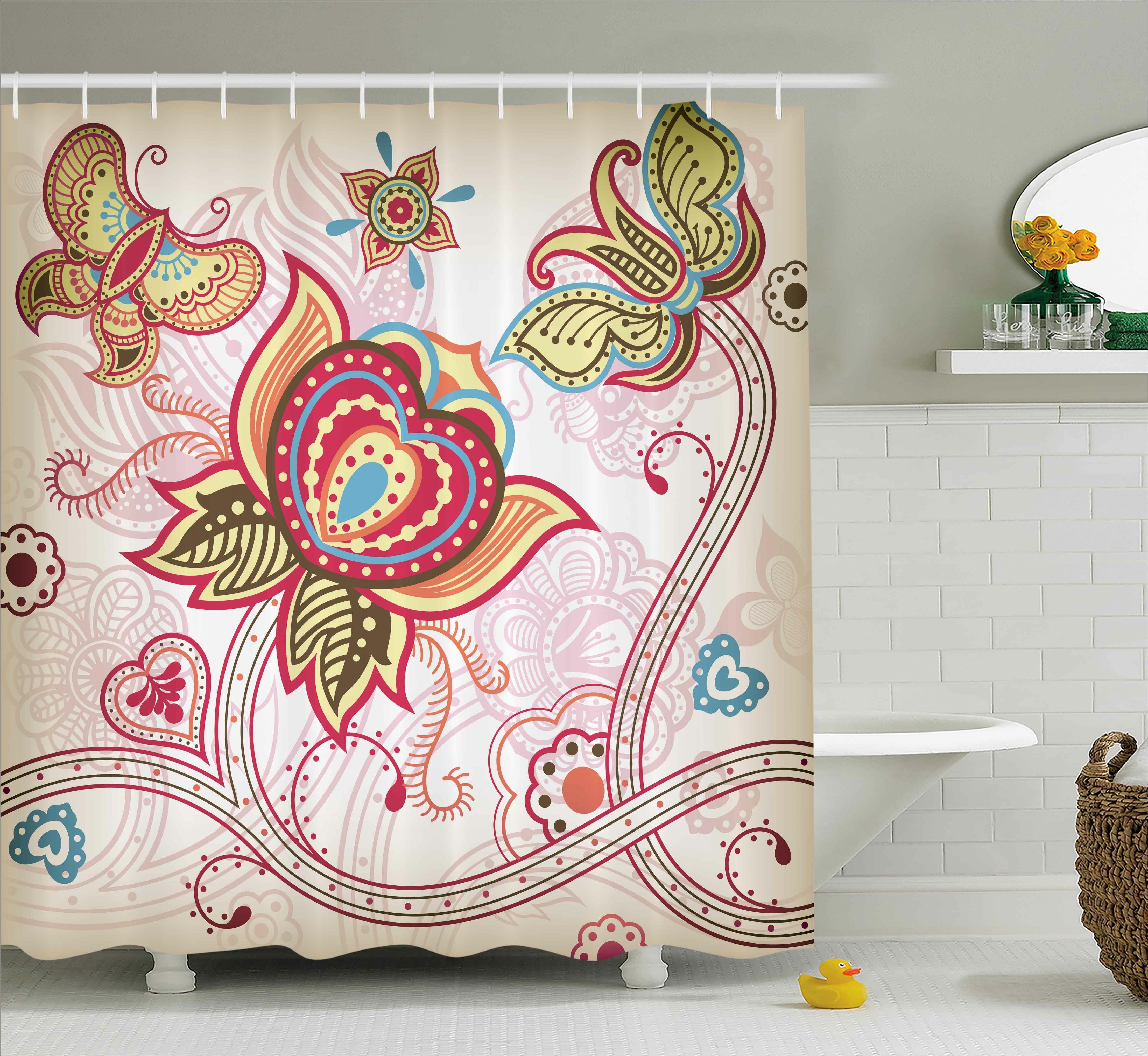 Darcelle Asian Style Butterflies Shower Curtain Hooks