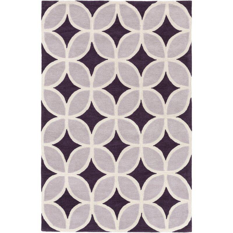 Latitude Run Kroeker Geometric Handmade Tufted Purple Area Rug Wayfair