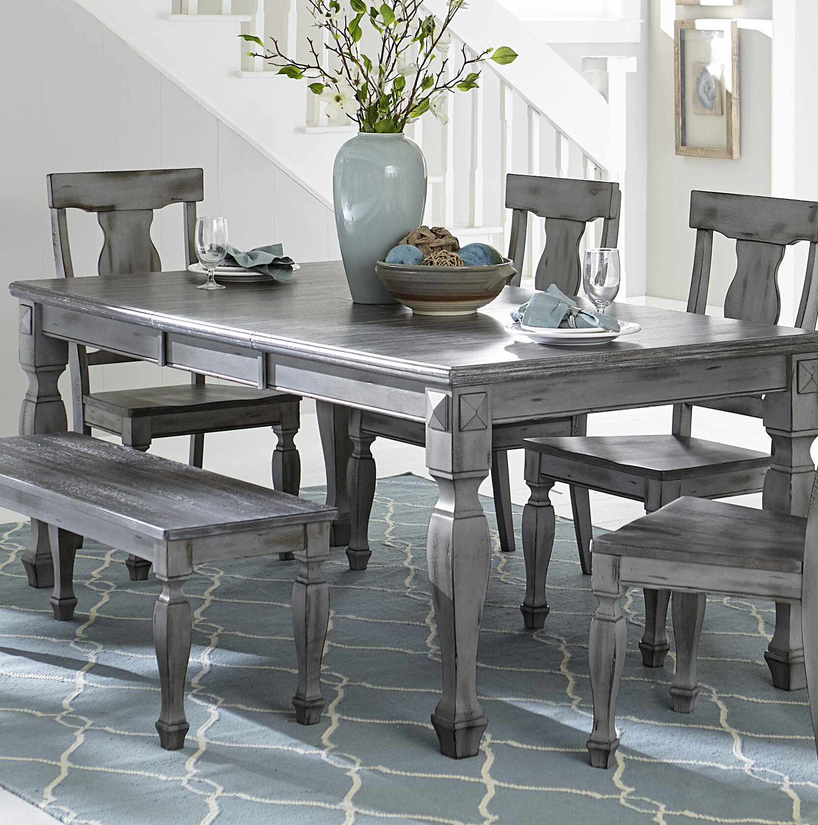 One Allium Way® Kara Extendable Solid Wood Dining Table & Reviews