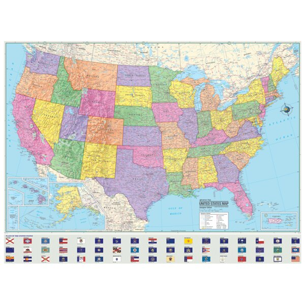 Wall Maps Youll Love Wayfair - Laminated us road map