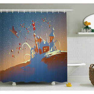 Santa Claus is Coming to Town with a Bunch of Gifts in Winter Art Print Shower Curtain Set