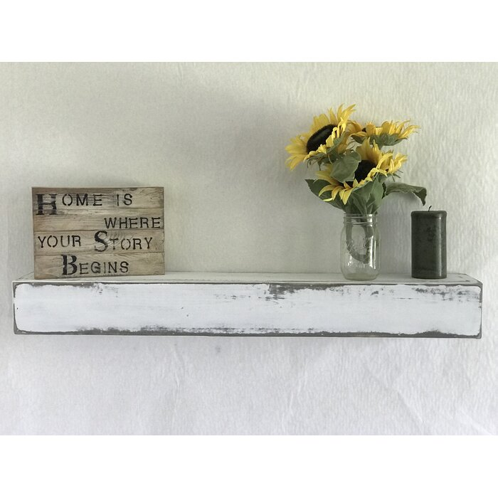 Reclaimed Distressed Wood Floating Shelf