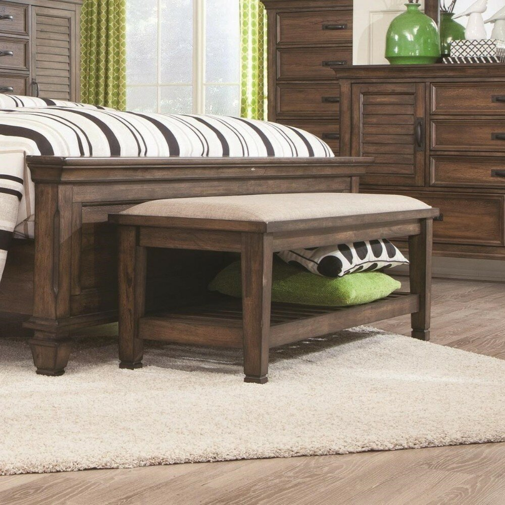 Shupe Transitional Style Wood Storage Bedroom Bench