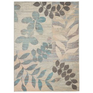 Monte Contemporary Botanical Ivory/Light Blue Area Rug by Winston Porter
