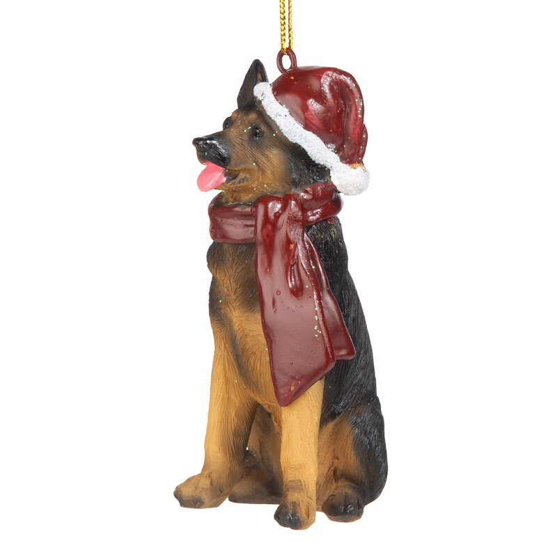 WHITE GERMAN SHEPHERD dog ANGEL Ornament resin HAND PAINTED FIGURINE Christmas