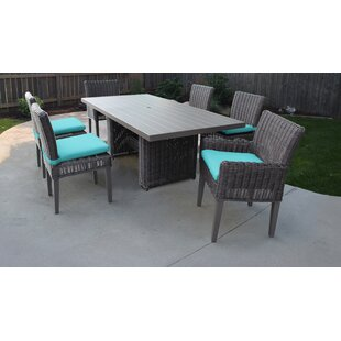 TK Classics Venice 7 Piece Outdoor Patio Dining Set with Cushions