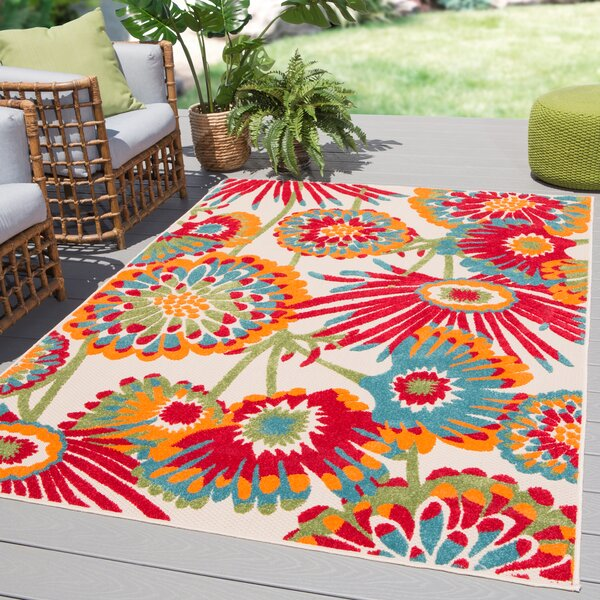 Tabb Floral Red Blue Indoor Outdoor Area Rug Amp Reviews