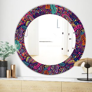 Texture with Abstract Flowers Wall Mirror by East Urban Home