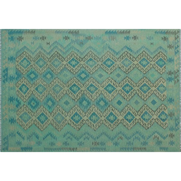 Foundry Select Benge Hand Knotted Wool Aqua Green Blue Area Rug Wayfair