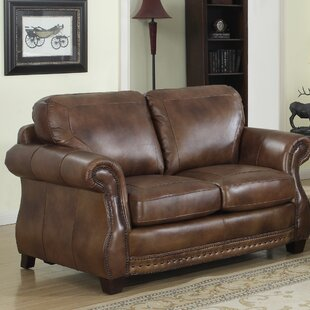 Darby Home Co Beglin Cognac Leather Loveseat