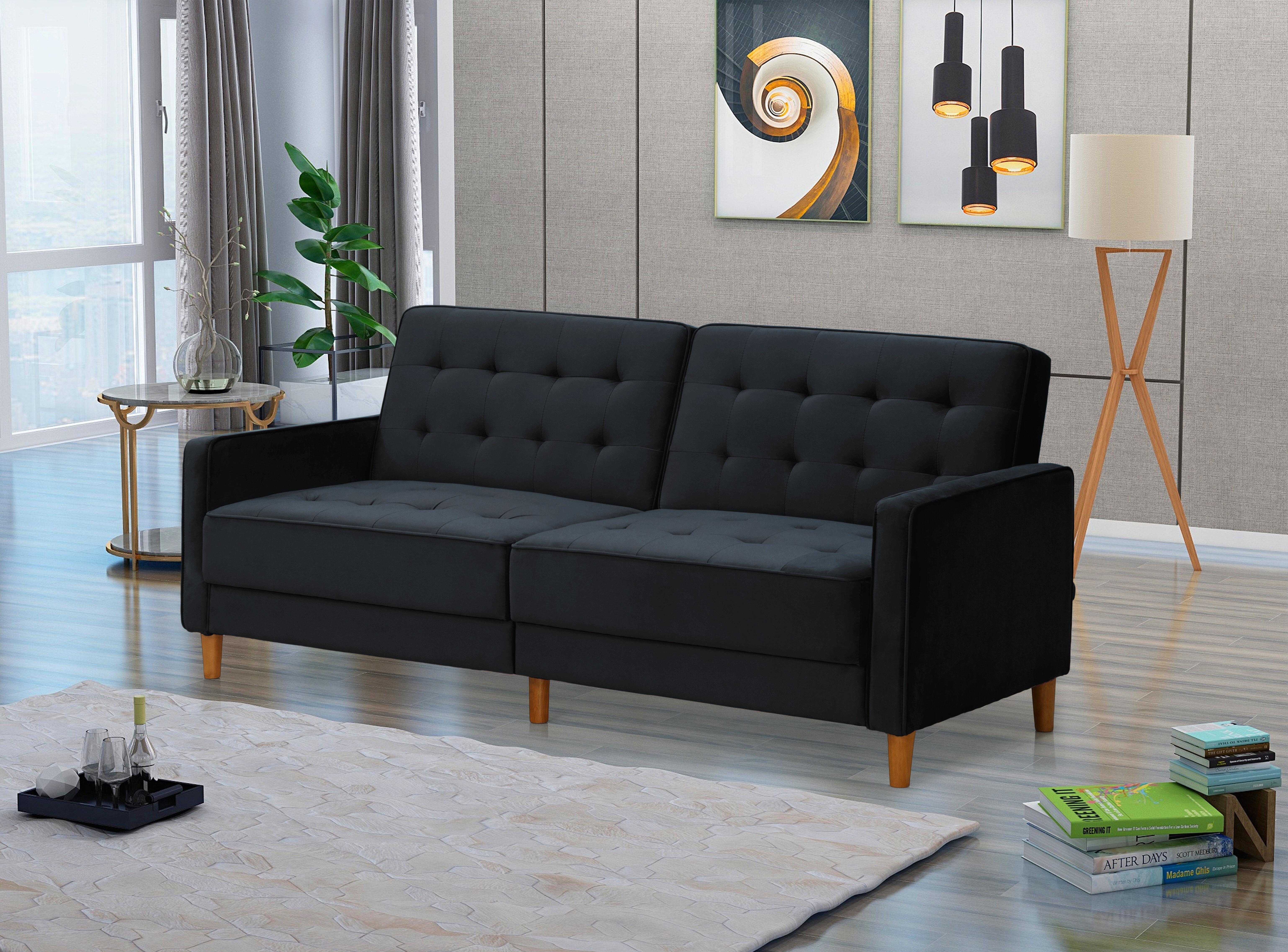 Corrigan Studio Square Arms Modern Velvet Upholstered Sofa Bed Blue 78 Lx31 9 Wx32 7 H Wayfair Ca