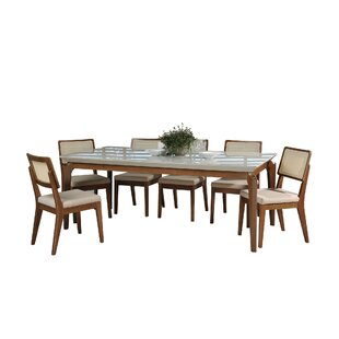 Tatro 7 Piece Solid Wood Dining Set Union Rustic