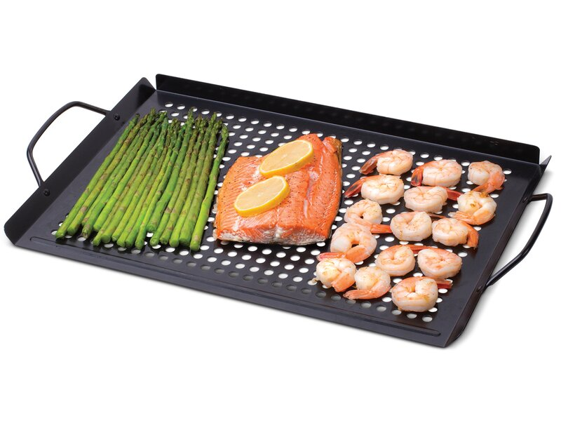 BBQ Masters Non-Stick Grill Basket Cooking Food Topper Barbecue Wok Topper Pan