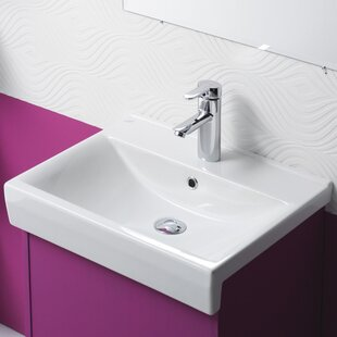 CeraStyle by Nameeks Riva B Ceramic Rectangular Drop-In Bathroom Sink with Overflow