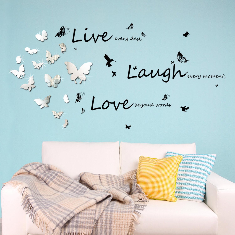 Ebern Designs Mirror Butterflies And Vivid Live Laugh Love Wall Decal Reviews Wayfair