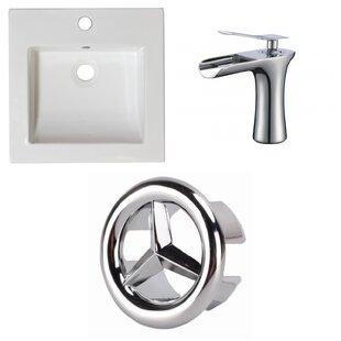 American Imaginations 1 Hole Ceramic Rectangular Drop-In Bathroom Sink wit..