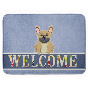 French Bulldog Brindle Welcome Memory Foam Bath Rug