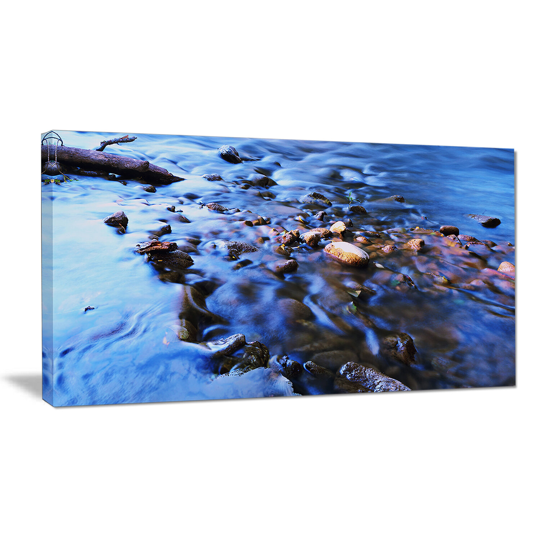 Designart Rock Blue River Panorama Photographic Print On Wrapped Canvas Wayfair
