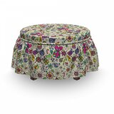 Christmas Lively Rich Doodle 2 Piece Box Cushion Ottoman Slipcover Set by East Urban Home