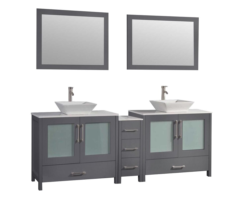 60 double sink bathroom vanity. Powley 60  Double Sink Bathroom Vanity Set With Mirror Orren Ellis