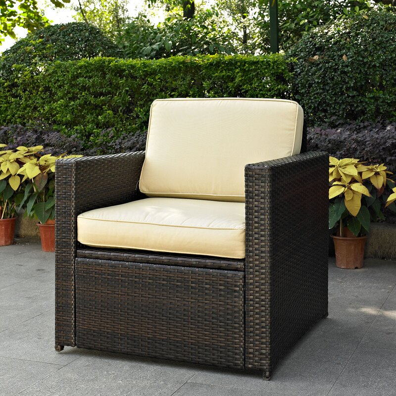 Mercury Row Belton Outdoor Wicker Deep Seating Chair with Cushion ...