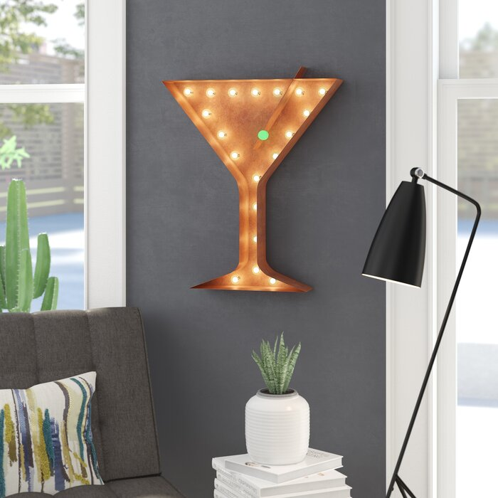 Martini Glass With Olive Steel Marquee Light Wall Decor