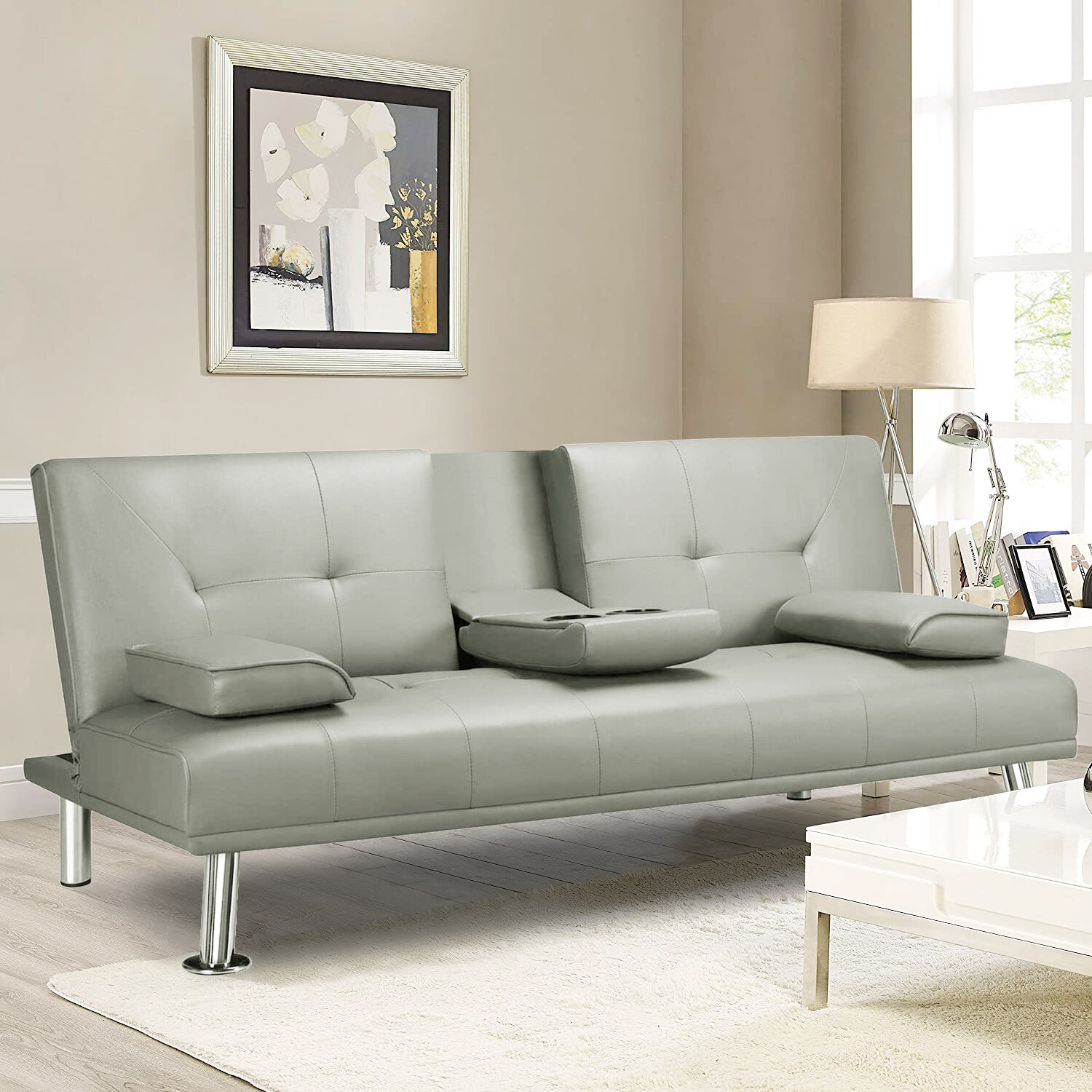 Latitude Run Modern Faux Leather Sofa Bed Convertible Sofa Couch Sleeper With Armrest Home Recliner Couch Home Furniture For Small Space Living Room Light Grey Reviews Wayfair Ca