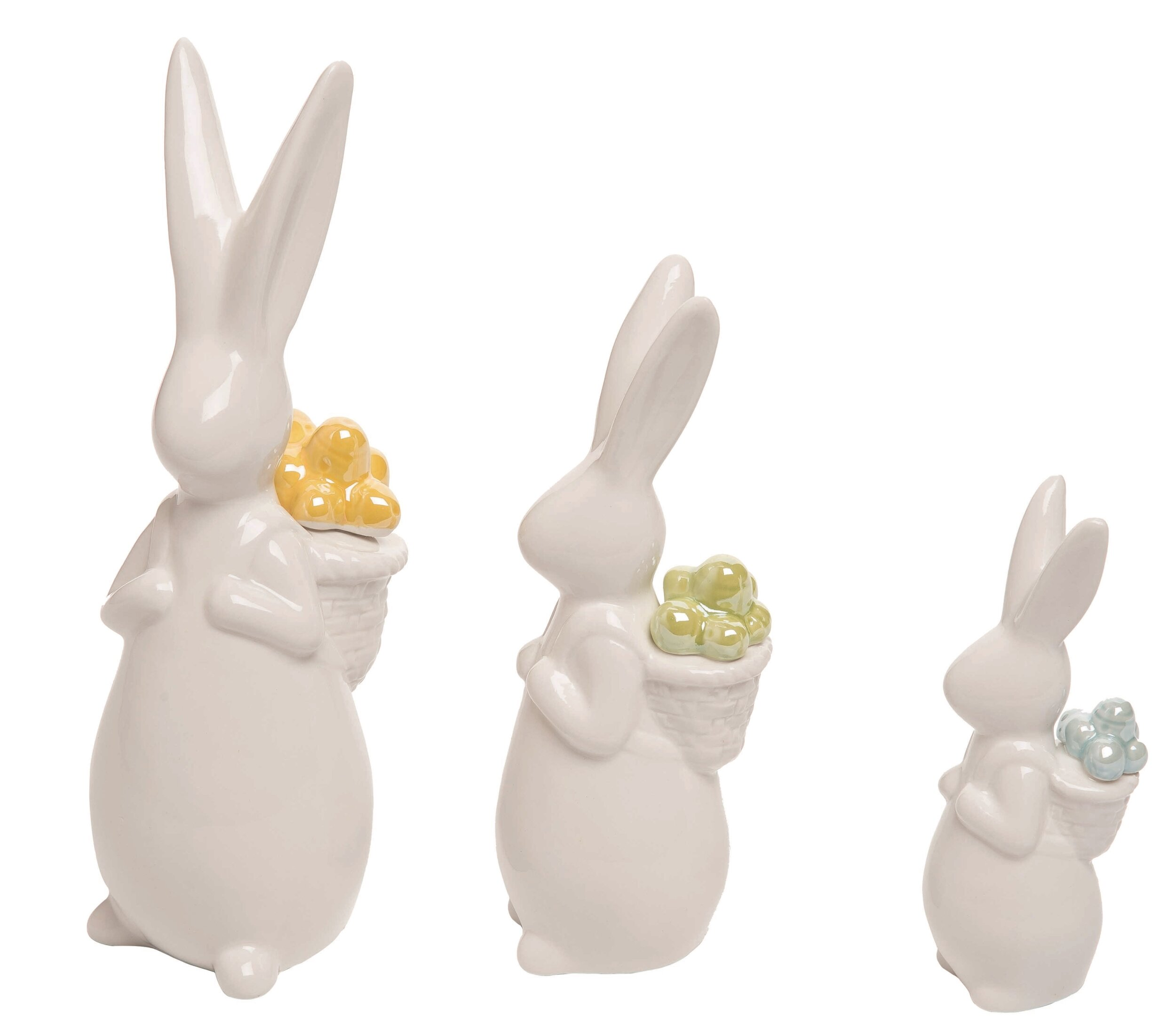 The Holiday Aisle 3 Piece Ceramic Easter Bunny Family With Backpacks Figurines Set Wayfair