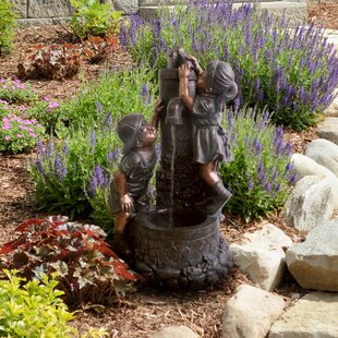 Pure Garden Resin Boy and Girl Sculptural Fountain