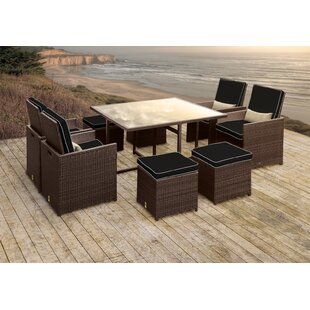 Solis Patio Stella II Patio Rattan 9 Piece Dining Set with Cushions and Rectangular Toss Pillows