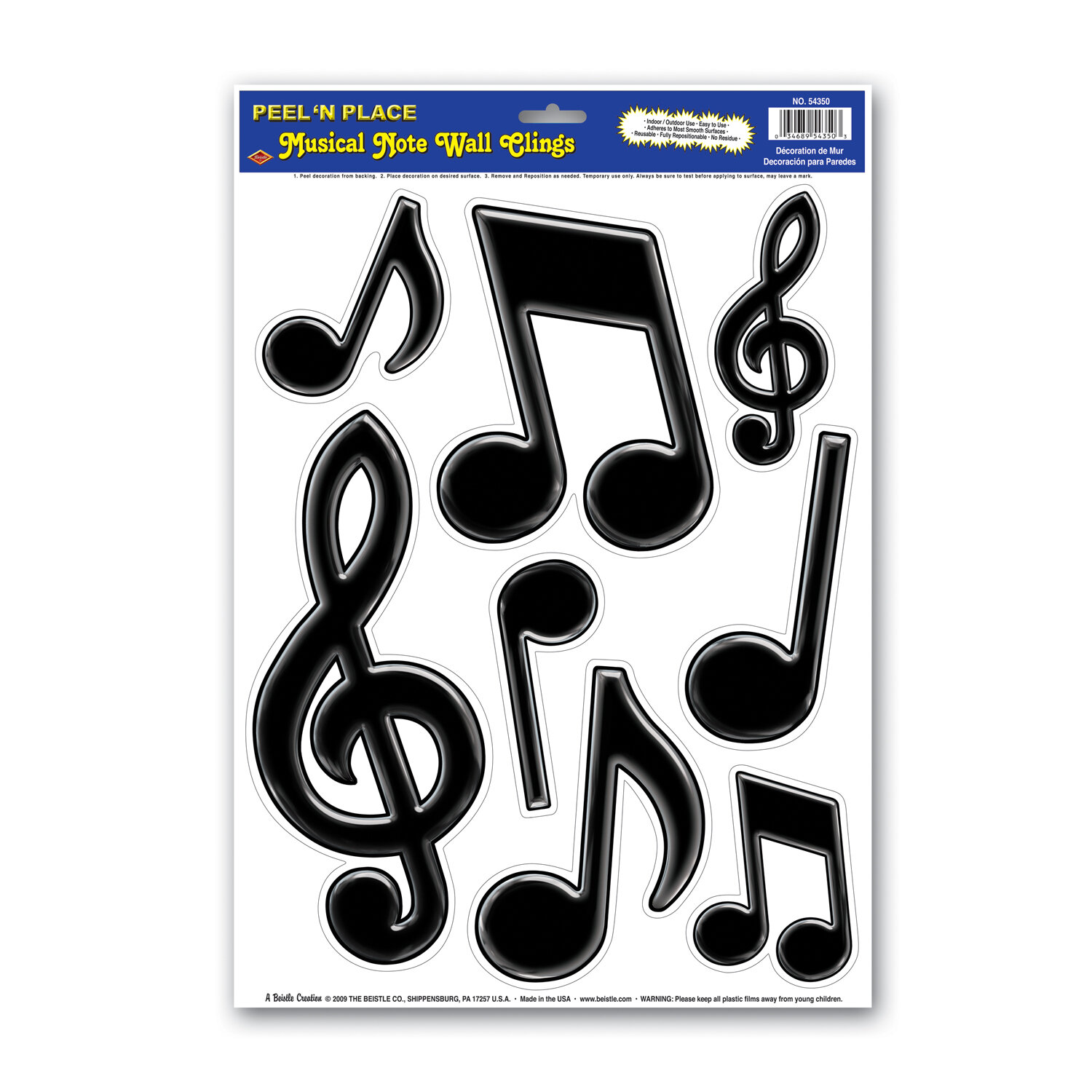 The Party Aisle 8 Piece Musical Notes Peel N Place Wall Decor Set Wayfair