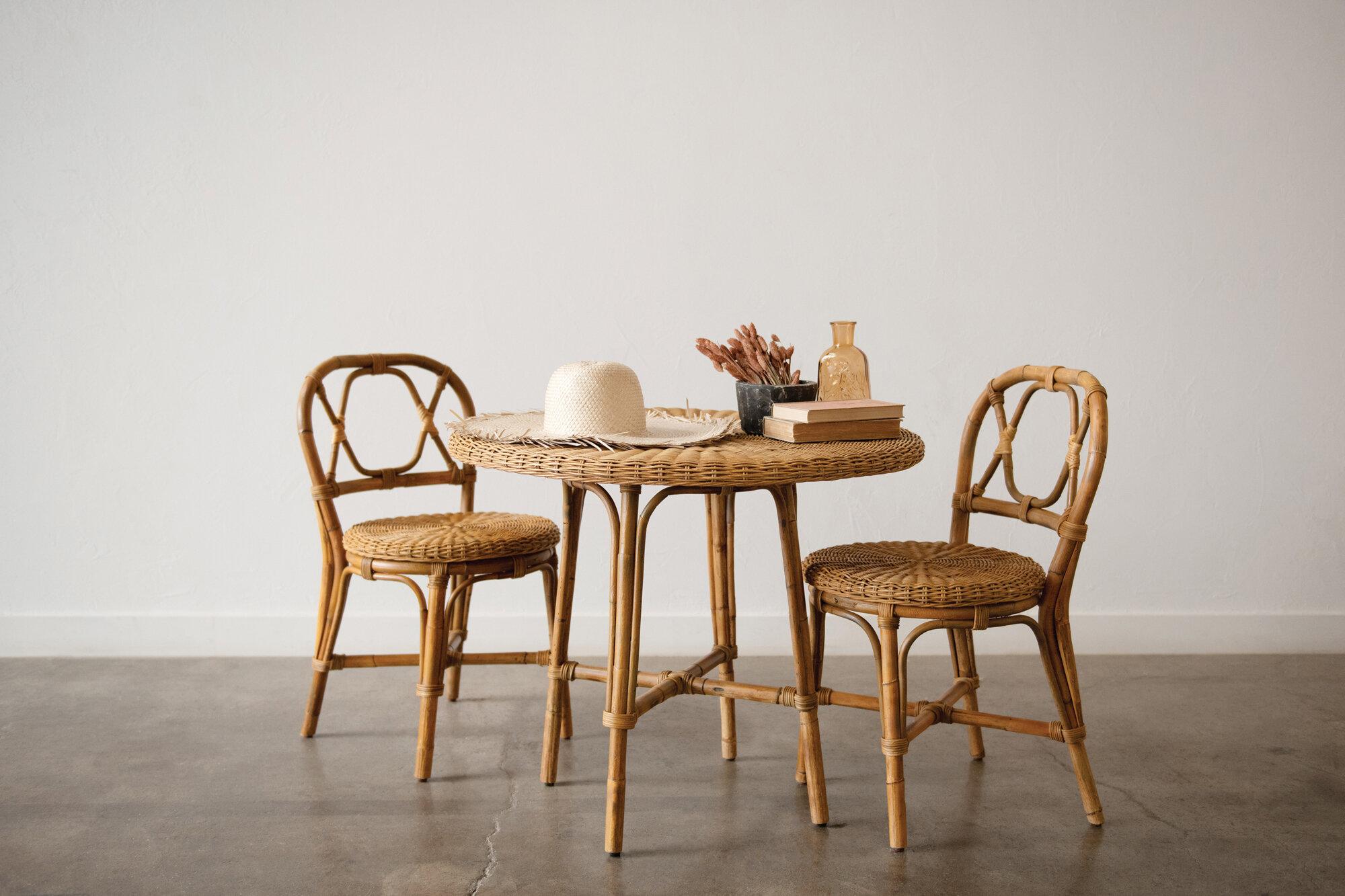 Bayou Breeze Haley Handwoven 3 Piece Solid Wood Dining Set Wayfair