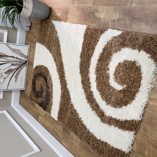 Burns Shag Brown/White Area Rug by Zipcode Design