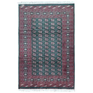 One-of-a-Kind Ewan Oriental Hand Woven Wool Green/Red Area Rug