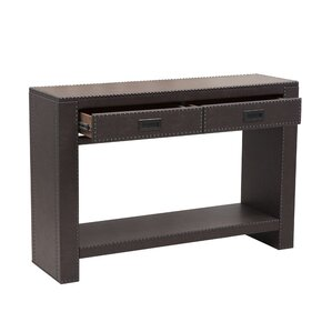 Captivating Beecher Faux Leather Drawer Console Table With Nail Head Trim