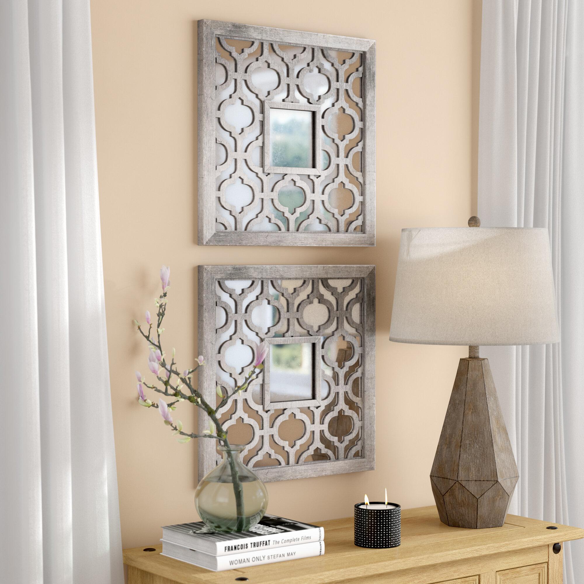 7 Piece Uptal Silver Leaf Traditional Wall Mirror Set