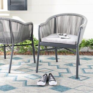 Sachar Rope Stacking Patio Dining Chair with Cushion (Set of 2)