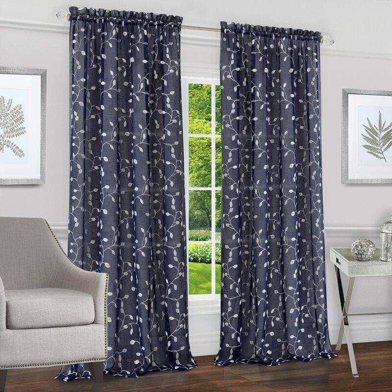 Red Barrel Studio Alina Floral Semi Sheer Rod Pocket Curtain Panels Wayfair