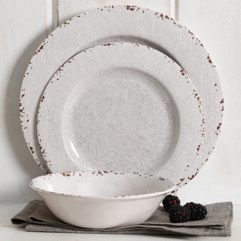 Bon Cogswell Mauna Crackle 12 Piece Melamine Dinnerware Set, Service For 4