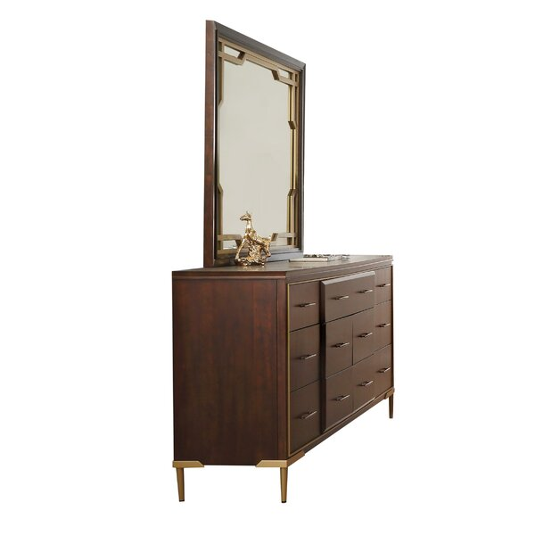 Everly Quinn Holdenville Wooden Raised Panel 7 Drawer Double Dresser With Mirror Wayfair
