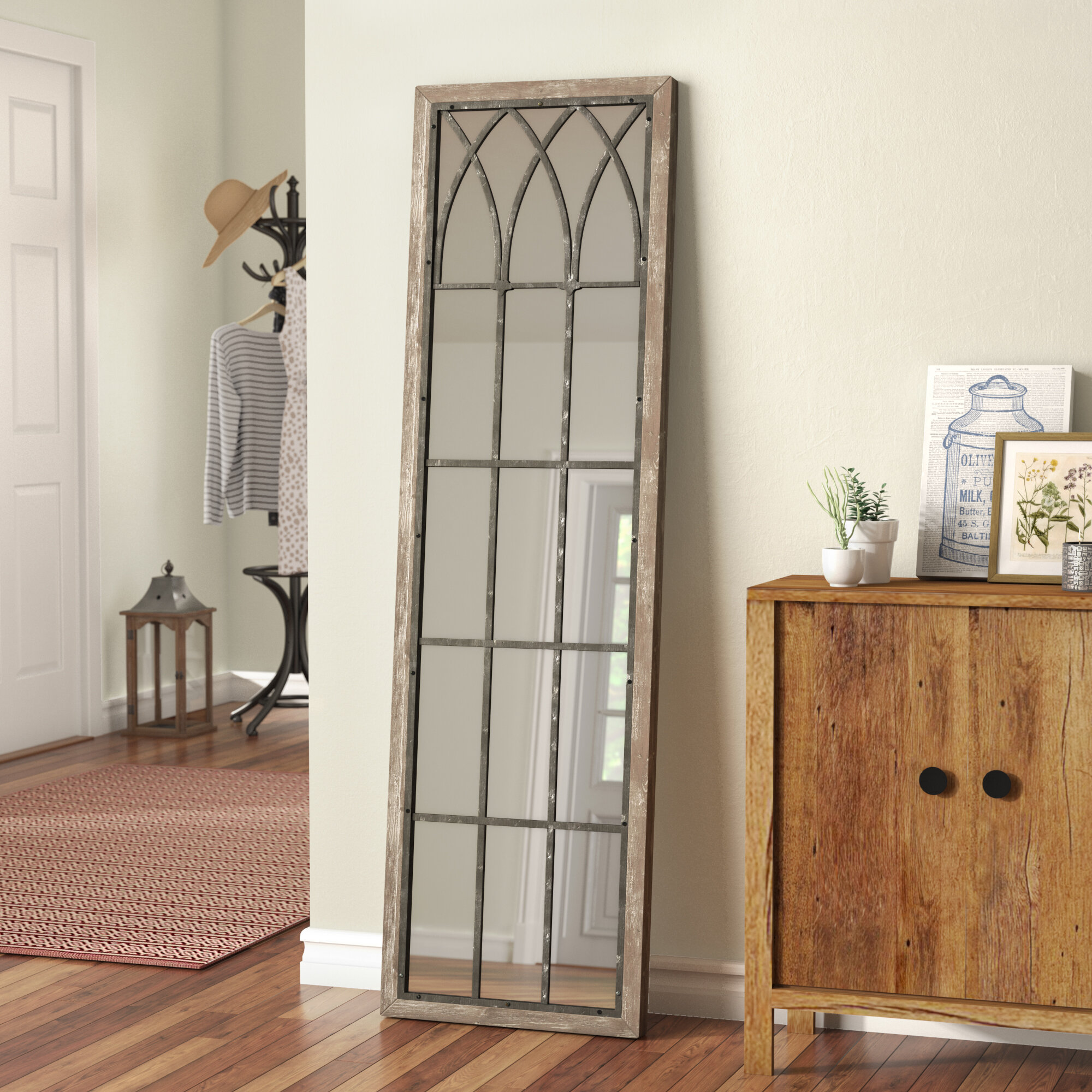 Wallaceton Wooden Full Length Wall Mirror