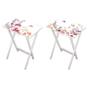 Affordable Debbra Watercolor 2 Piece Tray Table Set By August Grove