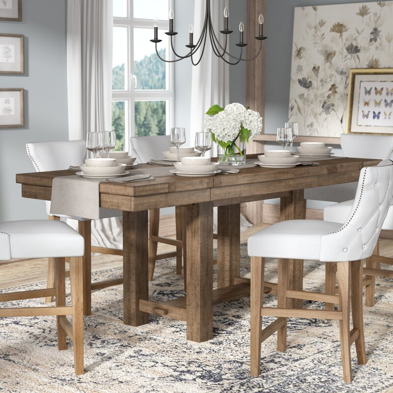 Attractive Hillary Rectangular Counter Height Extendable Dining Table