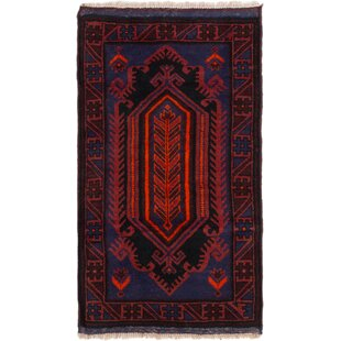 Affordable Price One-of-a-Kind Fien Hand-Knotted 2'8 x 4'7 Wool Blue/Burgundy Area Rug ByWorld Menagerie