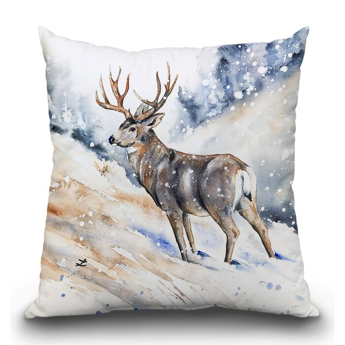Surprising Oakern Mule Deer Buck Watercolor Throw Pillow Inzonedesignstudio Interior Chair Design Inzonedesignstudiocom