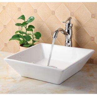 Elite Ceramic Square Vessel Bathroom Sink