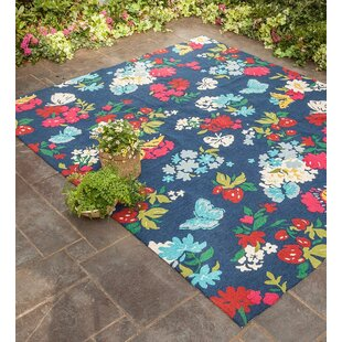 Great Price Butterfly Blue/Red Indoor/Outdoor Area Rug By Plow & Hearth